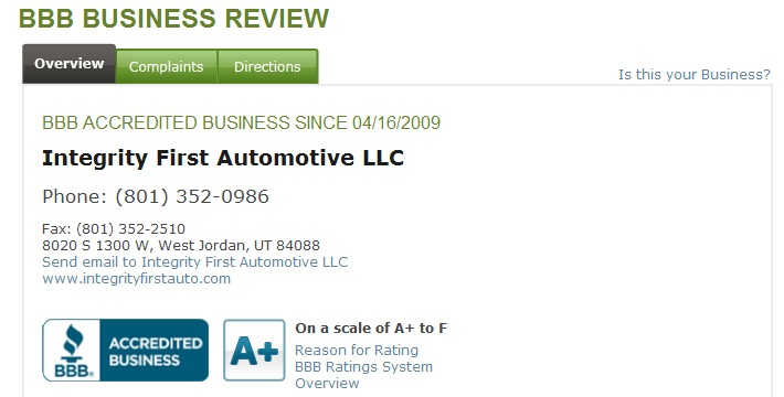 Integrity First Automotive BBB Reviews